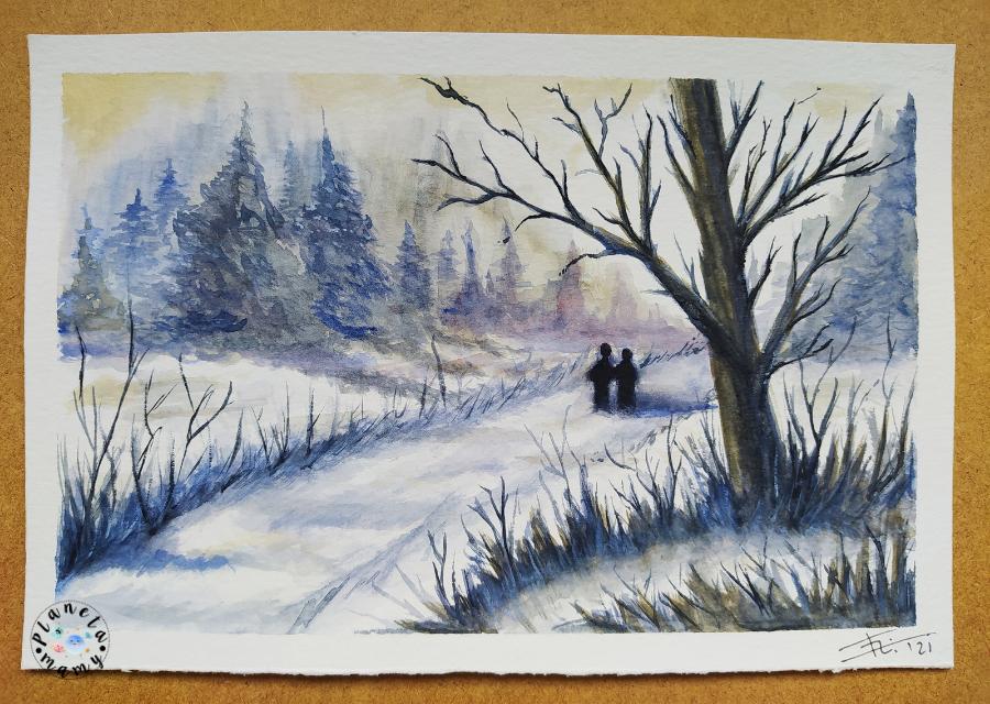 acuarela paisaje invierno